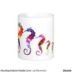 Marching rainbow color Seahorse Family | Love & Harmony Classic White Coffee Mug