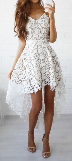summer outfits  White Lace Dress + Nude Sandals