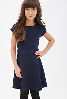 Textured A-Line Bow Dress (Kids) | Forever 21 girls - 2000118022
