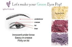 Pinks and purples are the best colors to use to help make those beautiful Green eyes stand out! All pigments are found at www.StephsBanginLashes.com