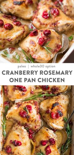 A quick and easy holiday chicken recipe made with fresh cranberries and rosemary. Paleo with a Whole30 option,