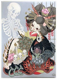 Jigoku Dayu (Hell Courtesan) by Junko Mizuno, a Japanese manga artist. Her drawing style has been described as Gothic kawaii or kawaii noir style. Art And Illustration, Geisha, Aya Takano, Yellena James, Art Magique, Hi Fructose, Goth Art, Lowbrow Art, Creepy Cute