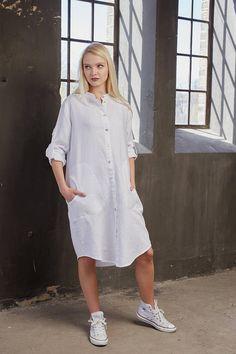 Linen shirt dress Tunic dress Linen summer dress Linen