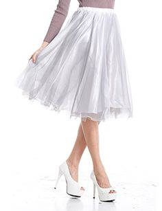 V28® Women 2 Colors Mid Tulle Tutu Ballet Ruffle Bridal Petticoat Princess Skirt -- You can find more details by visiting the image link.
