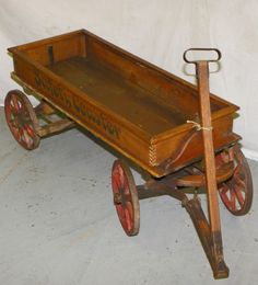 Vintage wooden Wagon. I love these old toys....I have several I use to display my bears & dolls.... ~ <3 ~
