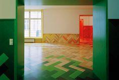 I nice interpretation of Established & Sons painted herringbone floor by Tham & Videgård Arkitekter.  Love the wainscoting.