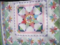 Queen size quilt Pastel spring thirties by KellettKreations