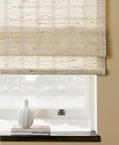 The Shade Store, Waterfall Woven Wood Shade, inside mount Blinds For Windows, Curtains With Blinds, Blinds Diy, Pleated Curtains, Burlap Curtains, Bay Windows, Bedroom Windows, Window Blinds, Window Seats