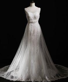 Tulle Sheer Shoulder Mermaid Wedding Dresses With Beading