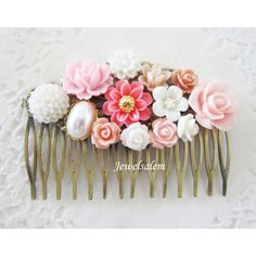 Pink Hair Comb Blush Pink Comb for Wedding Bridal Hair Slide Shabby... ($26) ❤ liked on Polyvore featuring accessories, hair accessories, black, decorative combs, weddings, bride hair accessories, flower hair comb, pink hair pins, bridal flower hair pins and bridal flower hair accessories