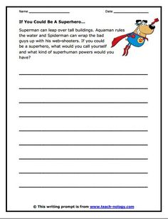 Free Writing Prompt: If You Could Be a Superhero. This wonderful prompt will get kids excited about writing. Great for independent writing! Writing Prompts 2nd Grade, Kindergarten Writing Prompts, Writing Prompts Funny, Writing Prompts For Writers, First Grade Writing, Picture Writing Prompts, Cool Writing, Teaching Writing, Writing Activities
