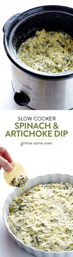 Spinach Artichoke Dip Slow Cooker Spinach Artichoke Dip -- the delicious dip that we all love, made extra quick and easy in the crock pot Crock Pot Slow Cooker, Crock Pot Cooking, Slow Cooker Recipes, Crockpot Recipes, Cooking Recipes, Crock Pots, Healthy Dip Recipes, Crock Pot Dips, Cooking Ideas