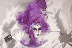Purple Venetian Masquerade Masks   Purple and Silver Venetian Masquerade Wall Decor Mask - VOLTO FIORE