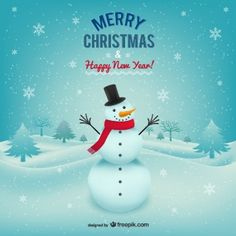Merry Christmas card with snowman