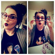 Créations Josée Godin - I need to work but I don't feel to... just feel to do stupid thing. So yeah... procrastinating  #artist #illustrator #duckface #procrastination #geek #geekgirl #unlourdfardeau #artwork #artistofinstagram #nerd #prismacolor