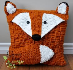 Felix the Fox Pillow Cover/ Bag Crochet Pattern by Sincerely Pam! Such a cute idea for a kid's room or as an Easter gift!