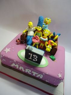 The Simpsons Cake Bolo Simpsons, Simpsons Party, The Simpsons, Beautiful Cakes, Amazing Cakes, 10 Birthday Cake, Different Cakes, Fondant Toppers, Novelty Cakes