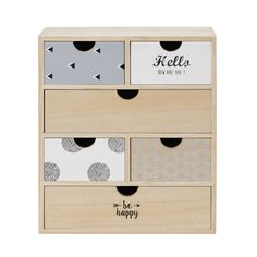 Caja con 6 cajones de paulonia con impresión | Maisons du Monde Ikea Furniture Hacks, Kids Bedroom Furniture, Space Saving Furniture, Stationary Box, Desk Inspiration, Ikea Kids, Art Storage, Western Furniture, Recycled Furniture