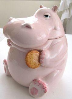 Fitz and Floyd 1980 hippo by TextilesandOldThings - Kids Ideas Antique Cookie Jars, Ceramic Cookie Jar, Ideas Prácticas, Gift Ideas, Vintage Cookies, Biscuit Cookies, Cute Cookies, Tea Pots, Biscuits