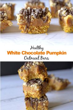 These White Chocolate Pumpkin Oatmeal Bars are a delicious and nutritious breakfast snack or dessert! Theyre also gluten-free vegan friendly! Peanut Butter Oatmeal Bars, Chocolate Oatmeal Cookies, Oatmeal Cookie Recipes, Homemade Chocolate, White Chocolate, Yummy Food, Tasty, Delicious Recipes, Baking Recipes