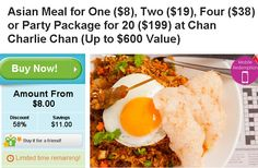 Asian Meal for One at Chan Charlie Chan ONLY $8 IN melbourne , Two ($19), Four ($38) or Party Package for 20 ($199)   lunch or dinner  RMIT Building 80, Level 2, 445 Swanston St Melbourne 3000  http://digbargain.com.au/coupon/asian-meal-for-one-at-chan-charlie-chan-only-8-in-melbourne/