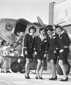 Air Canada (TCA) Flight Attendants 1946 vintage photo-Excited to be able to wear nylons again! #1940s #AirCanada #FlightAttendants #nylons #1940sfashion #vintagephoto