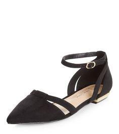 3db4275bdf4a Wide Fit Black Suedette Pointed Ankle Strap Pumps
