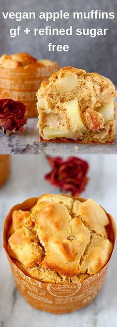 These Gluten-Free Vegan Apple Muffins are subtly spiced, surprisingly healthy and packed full of juicy apples. Refined sugar free. Great for breakfast, brunch, a snack or dessert!