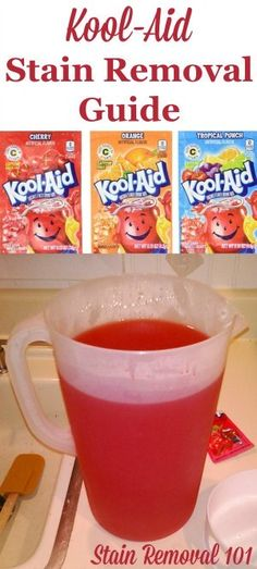 Tips and step by step instructions for removing Kool-Aid stains from clothes, upholstery and carpet {on Stain Removal 101}