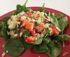 Delicious, healthy, and makes a lot! Quinoa, bell pepper, cucumber, mushroom, and balsamic vinegar.