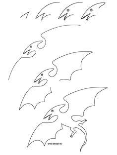 Cara Menggambar dinosaurus Pterodactyl