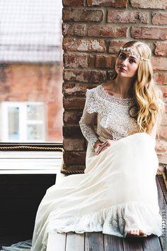 Lace wedding dress / Купить кружевное свадебное платье - бежевый, винтажное платье, свадебное платье, кружевное платье