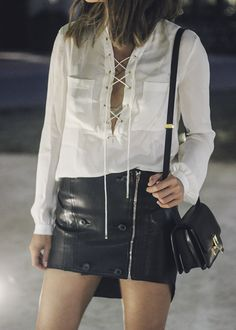 aimee_song_of_style_haute_hippie_tie_up_blouse_alexander_Wang_leather_skirt_celine_mini_box_bag