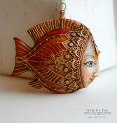 Фотографии Nadine Pau - masks, dolls and ornaments. Clay Projects, Clay Crafts, Arts And Crafts, Polymer Clay Kunst, Polymer Clay Jewelry, Biscuit, Paper Mache Clay, Play Clay, Paperclay