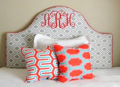 Monogrammed headboard grey white and coral with aqua turquoise