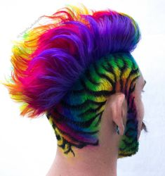 🎉 🌈 by far my favorite rainbow hair I have made😍 on the amazing and talented Who wears rainbow the best❤️ . Mens Hair Colour, Cool Hair Color, Comb Over Haircut, Wacky Hair, Shaved Hair Designs, Vibrant Hair Colors, Hair Tattoos, Crazy Hair, Gorgeous Hair
