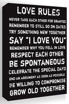 Love Rules Black & White Canvas Wall Art by Inspiring Word Play on @HauteLook