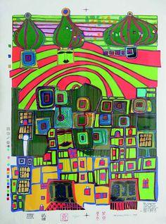 Friedensreich Hundertwasser - An Exceptional Artist Gustav Klimt, Bright Colors Art, Friedensreich Hundertwasser, Robert Rauschenberg, Ecole Art, Shadow Art, Joan Mitchell, Paul Klee, Art Graphique