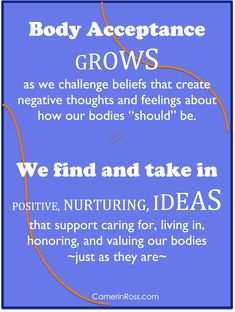 """Body Acceptance GROWS as we challenge beliefs that create negative thoughts and feelings about how our bodies """"should"""" be. 