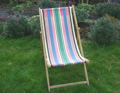 Original Vintage Deck Chair With Candy Stripe Fabric Garden, Camping, Seaside,