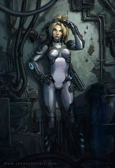 Cyberpunk, Future Girl, Futuristic Suit, Cyber Warrior, Futuristic Clothing, Girl with Gun, Ghost by Jason Chan