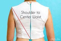 Measure Shoulder to Center Waist Back - Melly Sews