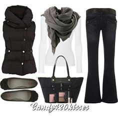 Nice fall-winter outfit. The vest looks very warm and cozy. Could be beneficial to have this vest in my wardrobe. Great combo with the bag.