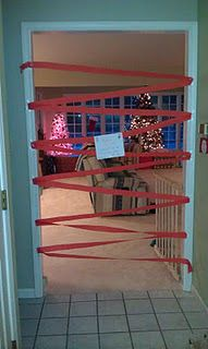 Elf on the Shelf crepe paper entrance to Christmas morning presents