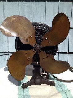 1899 cobre amarillo de antiguos raros Emerson FI1 la paleta del ventilador eléctrico de hierro fundido w trípode Base.