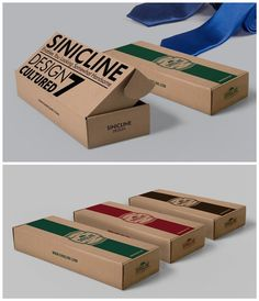 Kraft tie packaging boxes with different log colors. Great choice for those who…