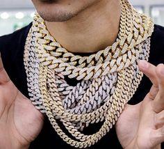 "Partial Iced Silver PT 11mm 18/"" 20/"" 24/"" Cuban Link Choker Chain Hip Hop Necklace"