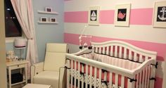 A pink and navy nautical nursery with a pink and white striped accent wall for my baby, Piper. The nursery items are from Etsy, IKEA and Pottery Barn Kids. Nautical Nursery Bedding, Coral Nursery Decor, Girl Crib Bedding Sets, Baby Room Decor, Nursery Ideas, Themed Nursery, Girl Nursery, Room Ideas, Project Nursery