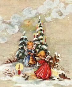 Christmas Scenes, Christmas Images, Christmas Angels, Decoration Christmas, Vintage Christmas Cards, Table Decorations, Illustration, Painting, Germany