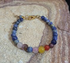 Sodalite Chakra Bracelet with Gold plated lobster claw Closure by AlisonsGemstones on Etsy